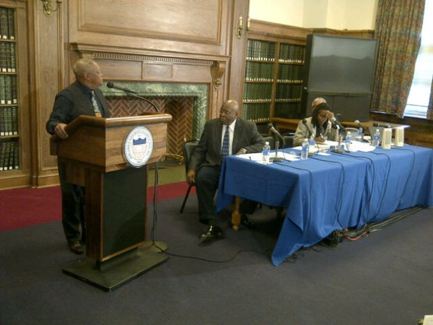 "Hugh Masekela (left), musician and political activist, was among a panel who examined the role of music in South Africa's political struggle against apartheid, which was led by late human rights icon Nelson Mandela, during Howard University's ""A Mandela Day"" symposium on Tuesday, Feb. 11. The event marks the day that Mandela was released from a prison on Robben Island in 1990. Masakela was to give a free concert at Howard's Cramton Auditorium later in the day."