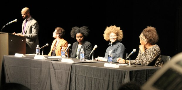 "The panel following ""Hate Crimes in the Heartland"" was moderated by CCNY professor R. L'Heureux Lewis-McCoy. Panelists featured were (L to R): filmmaker Rachel Lyon, CCNY student activist Veronica Agard, CNN contributor Michaela Angela Davis and Caribbean Cultural Center African Diaspora Institute founder Dr. Marta Moreno Vega."