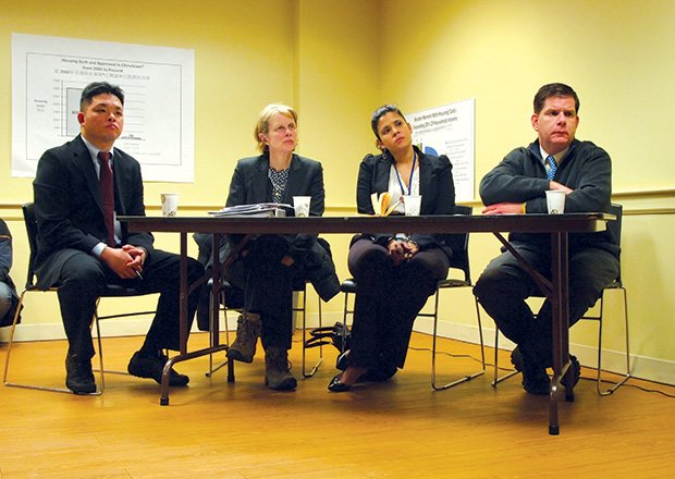 Mayor Marty Walsh listens as Chinatown residents discuss rent increases and the growing lack of affordability in their neighborhood. Joining Walsh are Chinatown liaison Deny Ching, Department of Neighborhood Development Director Sheila Dillon and Office of New Bostonians Director Alejandra St. Guillen.