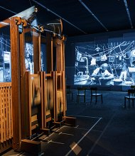 "William Kentridge's video and sound art installation ""The Refusal of Time"" (2012), done in collaboration with Philip Miller, Catherine Meyburgh and Peter Galison, is now on display as part of an bigger exhibit of his work at the Institute of Contemporary Art Boston."