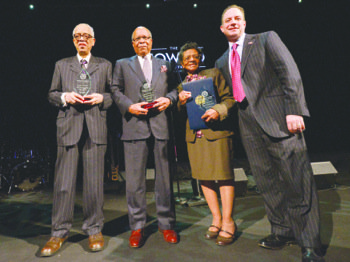 From left: Honorees William C. Brooks, Dr. Louis Sullivan, Judge Sara J. Harper and Republican National Committee Chairman Reince Priebus attend the 2nd Annual Black Republican Trailblazer Awards luncheon at the Howard Theatre in Northwest on Feb. 4.