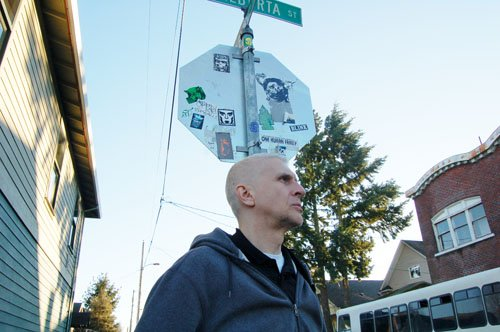 Filmmaker Matt Zodrow surveys his heavily gentrified neighborhood along Northeast Alberta Street. He and filming-partner Tracy MacDonald have set out to document Oregon's storied racial history, including the current issue for people of color being displaced from their historical neighborhoods, to the racist laws that excluded blacks from living in the Oregon territory during the mid 1800s.