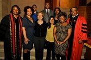 L to R: Executive pastor Emma Jordan-Simpson; Brooklyn Arts Council Arts in Education Director Kathleen Christie; Christ Fund board chair Lisa Bing; Brooklyn Arts Council President Ella Weiss; senior pastor Gary Simpson; (second row) Christ Fund board members Wanda Mealing, Wayne Vaughan and Charlotte Hunter