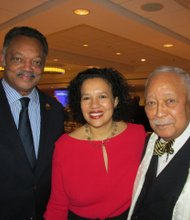 Jesse Jackson with Editor-in-chief Elinor Tatum and Mayor Dinkins
