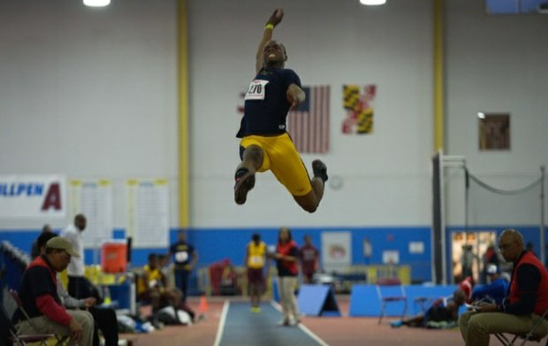 A long jumper competes in the MEAC Indoor Track and Field Championships at the Prince George's Sports & Learning Complex in Landover, Md., on Friday, Feb. 14.
