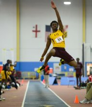 Kenneth Fisher of Bethune-Cookman University competes in the MEAC Indoor Track and Field Championships at the Prince George's Sports & Learning Complex in Landover, Md., on Friday, Feb. 14.