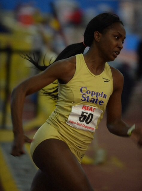 A runner from Coppin State University competes in the 200m dash during the MEAC Indoor Track and Field Championships at the Prince George's Sports & Learning Complex in Landover, Md., on Friday, Feb. 14.