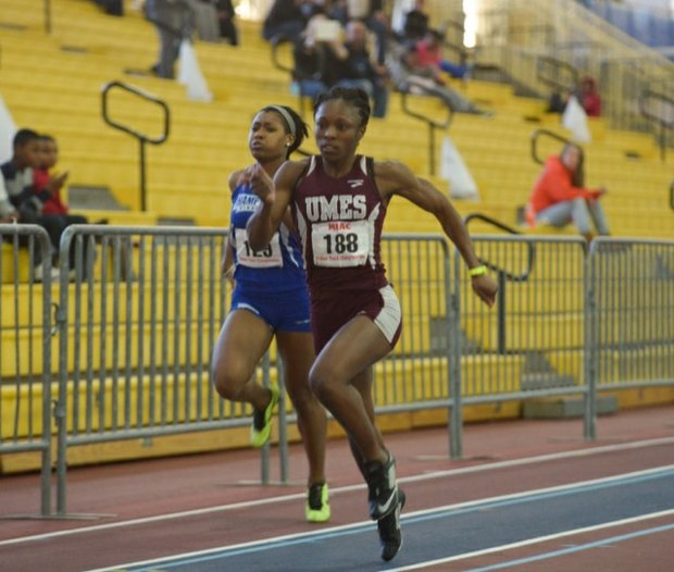 Runners compete in the MEAC Indoor Track and Field Championships at the Prince George's Sports & Learning Complex in Landover, Md., on Friday, Feb. 14.