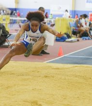 Jenira Shufford of Hampton University competes in the long jump during the MEAC Indoor Track and Field Championships at the Prince George's Sports & Learning Complex in Landover, Md., on Saturday, Feb. 15.