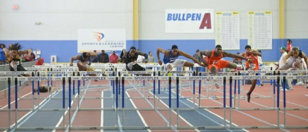 Competitors face off in the men's 60m hurdles final during the MEAC Indoor Track and Field Championships at the Prince George's Sports & Learning Complex in Landover, Md., on Saturday, Feb. 15.