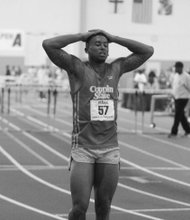 Jeremy Dorsey of Coppin State University shows his disappointment after missing a hurdle in the 60m final during the MEAC Indoor Track and Field Championships at the Prince George's Sports & Learning Complex in Landover, Md., on Saturday, Feb. 15.
