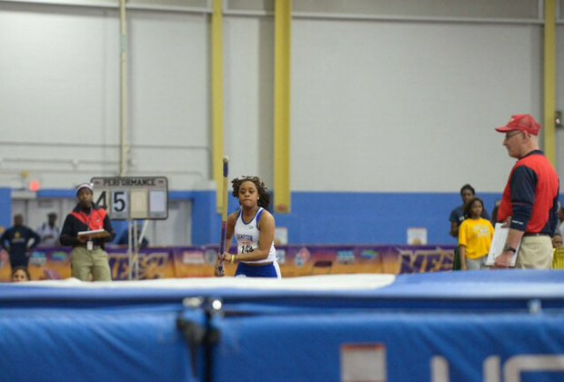 Chelsea Wright of Hampton University competes in the pole vault during the MEAC Indoor Track and Field Championships at the Prince George's Sports & Learning Complex in Landover, Md., on Saturday, Feb. 15.