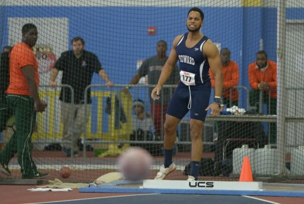 Rajae Gayle of Howard University competes in the shot put event during the MEAC Indoor Track and Field Championships at the Prince George's Sports & Learning Complex in Landover, Md., on Saturday, Feb. 15.