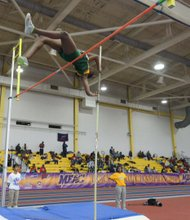 Tiara Davis of Norfolk State University competes in the pole vault during the MEAC Indoor Track and Field Championships at the Prince George's Sports & Learning Complex in Landover, Md., on Saturday, Feb. 15.