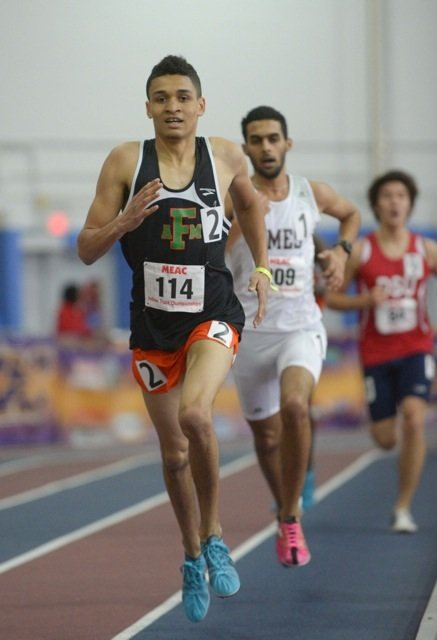 Deon Clifford (left) of Florida A&M University won the 3000m during the MEAC Indoor Track and Field Championships at the Prince George's Sports & Learning Complex in Landover, Md., on Saturday, Feb. 15.