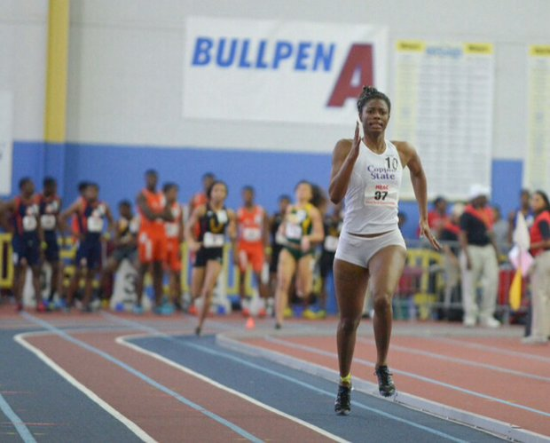 Ashley Bacote of Coppin State University won the 800m during the MEAC Indoor Track and Field Championships at the Prince George's Sports & Learning Complex in Landover, Md., on Saturday, Feb. 15.
