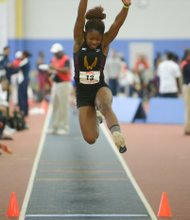 Cenita Sanders of Bethune-Cookman University competes in the long jump event during the MEAC Indoor Track and Field Championships at the Prince George's Sports & Learning Complex in Landover, Md., on Saturday, Feb. 15.