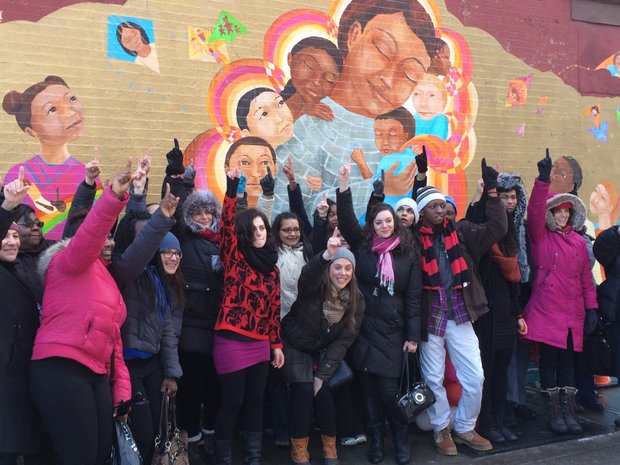Participants in the One Billion Rising for Justice flash mob in East Harlem to draw attention to issues of violence against women.