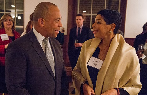 Gov. Deval Patrick — here with Carol Fulp, chief executive of the Partnership — and First Lady Diane Patrick were honored by Eastern Bank with the Community Advocacy Award for their dedication to fighting for equal access and opportunity for all at the Museum of African American History in Boston.