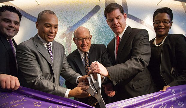 Gov. Deval Patrick celebrates the Commonwealth's globally recognized Life Sciences supercluster at the ribbon cutting ceremony for Vertex Pharmaceuticals' global headquarters. (l-r) State Rep. Nick Collins, Patrick, Vertex CEO Jeff Leiden, Mayor Marty Walsh and state Sen. Linda Dorcena Forry.