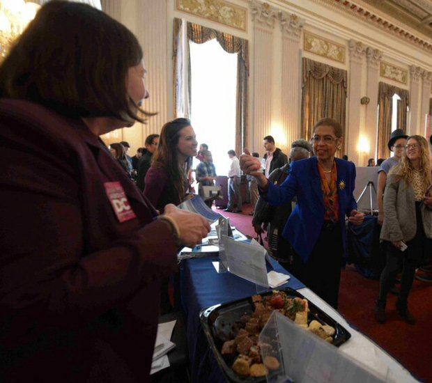 "D.C. Delegate Eleanor Holmes Norton, along with Destination DC, hosted House and Senate members and their congressional staff at the annual ""Ask Me About D.C."" fair at the Cannon House Office Building on Wednesday, Feb. 19. Guests got a chance to meet with an array of businesses relating to tourism, entertainment and food service."