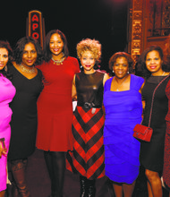 Dining with the Divas co-chairs Carolyn Mason (left) and Jacqueline Nickelberry (center) with guests