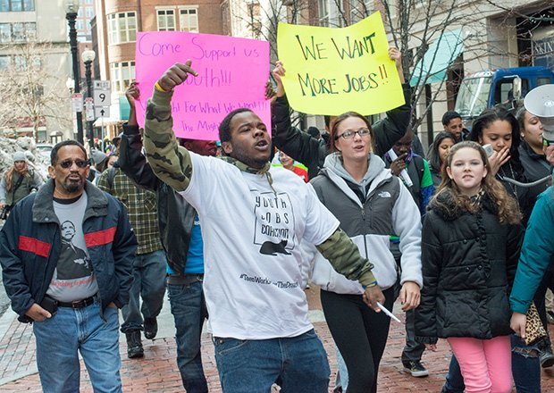Dudley Street Neighborhood Initiative joined more than 1,000 youth yesterday at a downtown Boston rally for summer jobs funding.