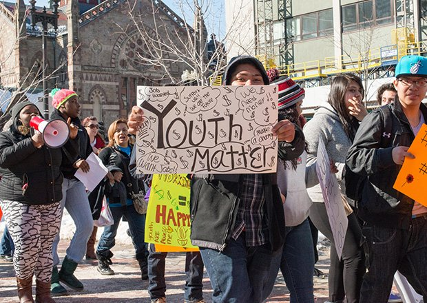 "Over 1,000 youth rallied for summer jobs funding in downtown Boston."" (on February 20th)"