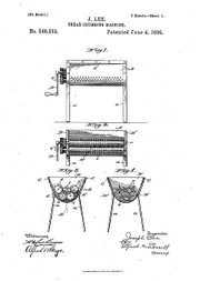 Joseph Lee received a patent in 1895 for his invention of a bread crumbing machine.