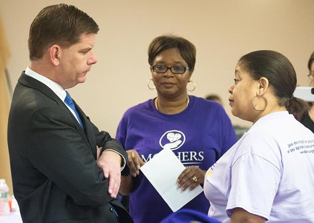 Mayor Marty Walsh attends the Mothers for Justice & Equality Empowerment Breakfast at Faith Christian Church in Dorchester on Feb. 22. At the breakfast, Mayor Walsh took time to take questions from those in attendance regarding recent violence in the city, as well as opportunities for youth to work this coming summer.