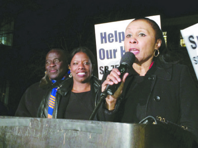 Carmen Johnson (right) of the Prince George's County NAACP joined Delegate Aisha Braveboy at the state capital in Annapolis on Feb. 24 to rally for a moratorium on foreclosures in Maryland.