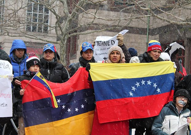 On Feb. 18, demonstrators gathered on Boston Common to show support for the protesters in Venezuela, who are calling on the South American country's government to reduce violence and provide more access to basic necessities such as food and medicine.