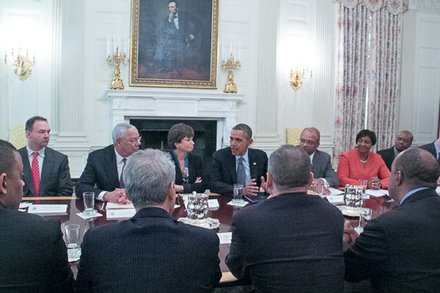 "President Obama discusses his ""My Brother's Keeper"" with political, business, and White House senior administration officials on Thursday, Feb. 27 in the White House State Dining Room."