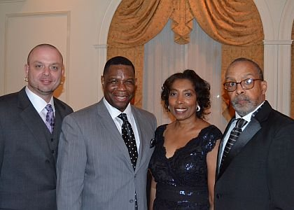 "From left, Ron Strothers-Potochar, Marc Strothers and other Lawnside Education Foundation, Inc. supporters attended the foundation's fourth annual dinner dance and auction on Feb. 22 at The Merion in Cinnaminson. This year's theme was ""Continuing the Dream."""