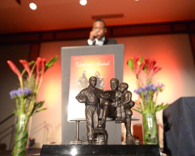 Robert Okereke of Santa Ana, Calif., a Franklin D. Watkins Award finalist, speaks during the awards ceremony at the Capitol Hill Hyatt Regency in D.C. on Saturday, Feb. 22.