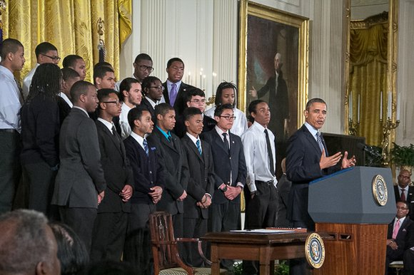 President Obama, in front of a distinguished group of mostly black boys and young men at the White House on ...