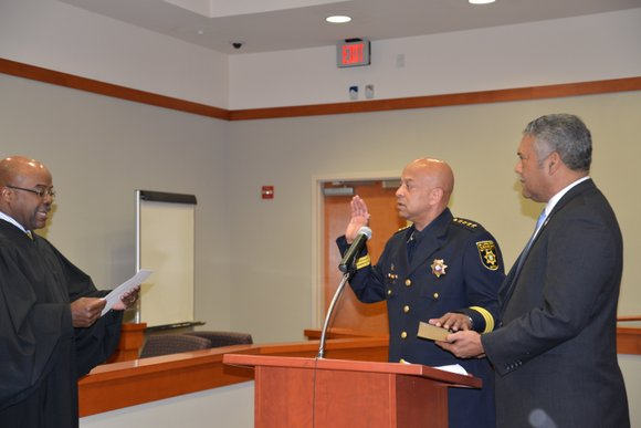 Chief Deputy Jeffrey Mann took the oath of office as DeKalb's Interim Sheriff Feb. 28 before a crowd of about ...