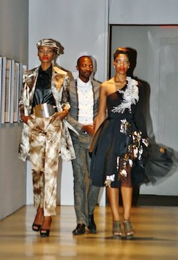 "South African fashion designer Thula Sindi displays his mineral-inspired designs at the National Museum of African Art's ""Earth Matters, Fashion Matters"" showcase on Feb. 23."