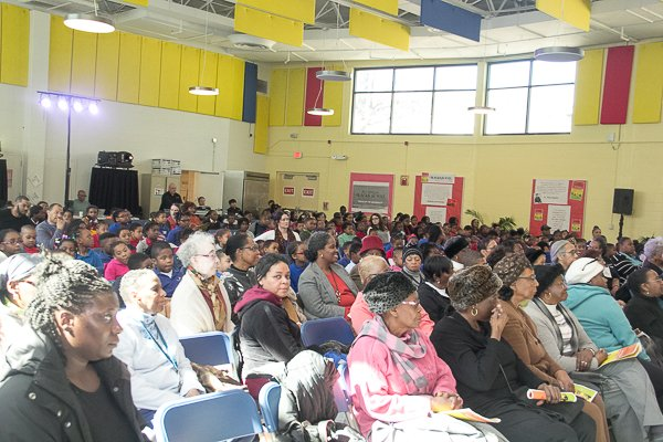 Full capacity audience during Blacks in Wax performance at McGogney Elementary School Eagle Center on Friday, Feb. 28.