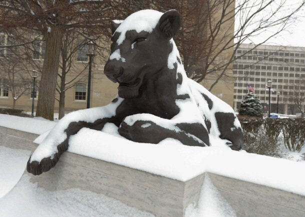 The lioness statue at the Law Enforcement Memorial in Northwest is seen here on Monday, March 3, after the region was hit by a heavy snowstorm.
