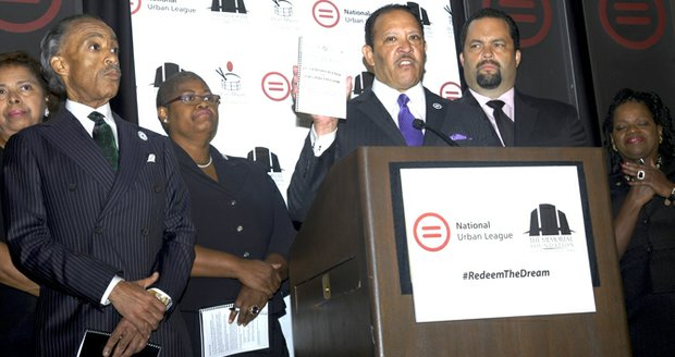 National Urban League President Marc Morial announces civil rights agenda during the 50th anniversary of the 1963 March on Washington, Aug. 23, 2013. From left to right: Al Sharpton, Melanie Campbell, Morial and Ben Jealous.