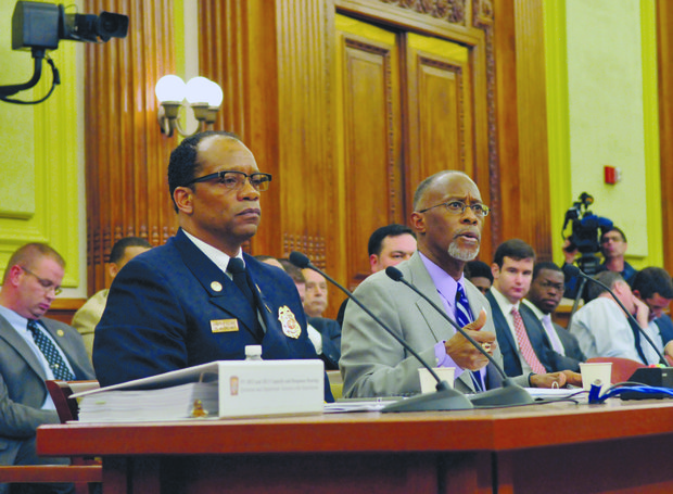D.C. Fire Chief Kenneth Ellerbe (left) and Paul Quander Jr., deputy mayor of Public Safety