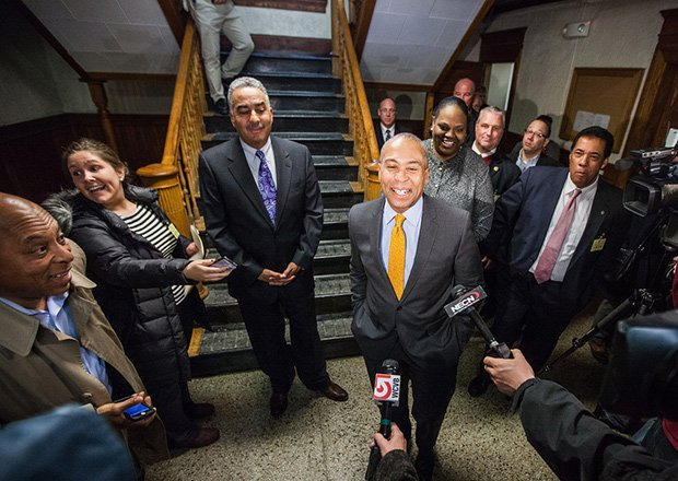 Governor Patrick visits the Essex County Sheriff's Office's Lawrence Correctional Alternative Center to discuss initiatives to help Massachusetts reduce recidivism by 50 percent over the next five years. With Patrick are Essex County Sheriff Frank Cousins (to his left), Public Safety Secretary Andrea Cabral and state Rep. Marcos Devers (to his right).