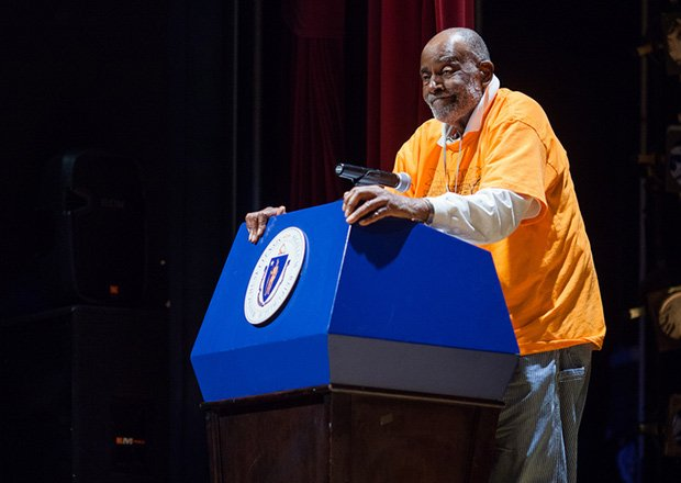 Former state Rep. Mel King speaks during a Black History Month celebration at Roxbury Community College.