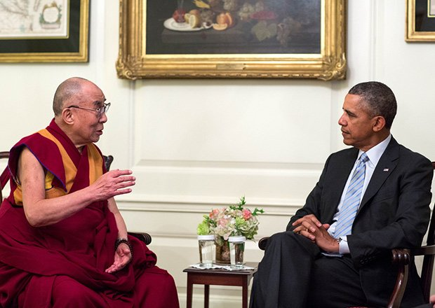 President Obama meets with the Dalai Lama in the Map Room of the White House. In the meeting, Obama reiterated his strong support for the preservation of Tibet's unique religious, cultural, and linguistic traditions and the protection of human rights for Tibetans in China.