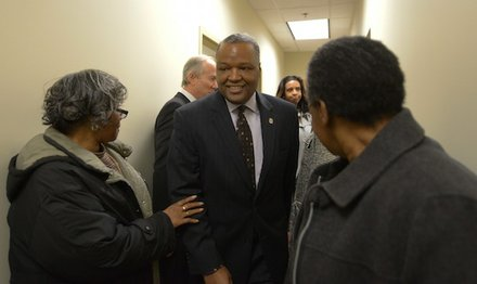 Prince George's County Executive Rushern Baker III (D) tours the Global Vision Community Health Center in Capitol Heights, Md., on Thursday, March 6, during the health center's grand opening.