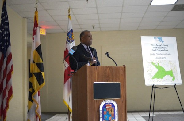 Prince George's County Executive Rushern Baker III (D) speaks during the grand opening of the Global Vision Community Health Center in Capitol Heights, Md., on Thursday, March 6.