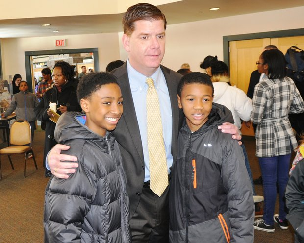Mayor Martin J. Walsh is shown with Deon Drummond (l) and Kadel Cato during the ParkSCIENCE Winter Children's Festival hosted by the Boston Parks and Recreation Department at the Franklin Park Golf Clubhouse on Feb. 20. The event was supported by the L.L.Bean Outdoor Discovery School and New England Coffee.