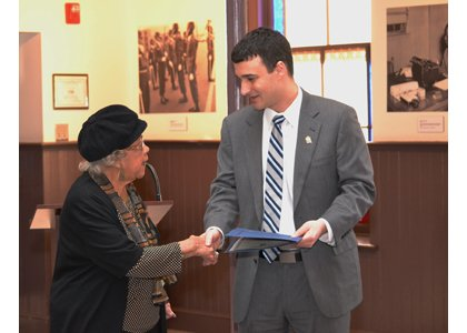 "Mayor Mike Pantelides met with Annapolis seniors from the Residences at Wiley H. Bates Heritage Park for a tour of Banneker-Douglas Museum on February 27, 2014. The mayor honored  Beatrice ""Miss Bea"" Smith for her community accomplishments."