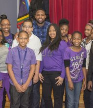 Tory Smith with Middle School Honor Role Students from Dickey Hill Elementary/Middle School.